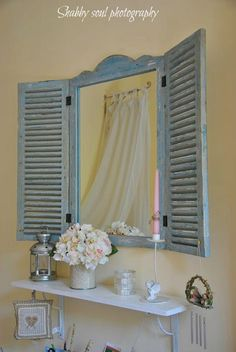 Wall Display Ideas / Home Decor Idea / Cottage ♡ I love this shuttered mirror! ♡