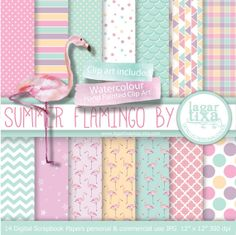 Digital Paper Flamingo watercolour party Pale by LagartixaShop, $4.00