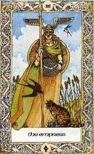 Freyja. Btw, the site speaks rubbish. Freyja is a WAR GODDESS. Of course she bears weapons and has a warrior aspect!!