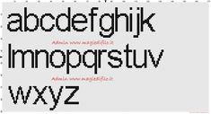 Alphabet Arial font lowercase height 20 stitches cross stitch pattern free