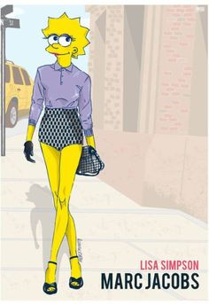 Zes cartoonfiguren op de New York Fashion Week