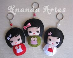 Image detail is Knanda-Arts: More Kokeshis in felt! ^ ^