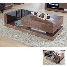 Walnut Black Glass Coffee Table JF613CT £380 Furniture infashion.net