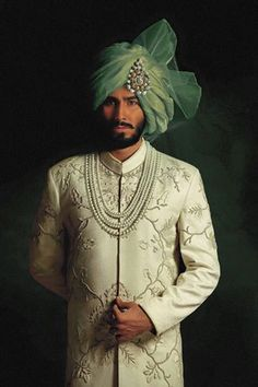 Indian Groom Style- Ideas for Wedding Sherwani Designs for Men Wedding Dress Men, Indian Wedding Outfits, Wedding Men, Wedding Groom, Wedding Suits, Bride Groom, Bridal Outfits, Indian Weddings, Farm Wedding