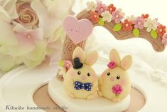 LOVE ANGELS rabbit and bunny Wedding Cake Topper with flowers tree | Flickr – Compartilhamento de fotos!