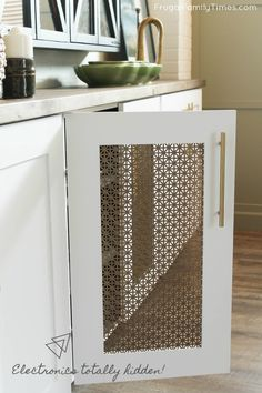 How to DIY a Media Cabinet Built-in - that looks great and hides everything! This media cabinet is made with prefab kitchen cupboards, custom doors and a chunky, natural, wood top. Diy Kitchen Cupboards, Kitchen Cupboard Doors, Diy Cabinets, Built In Cabinets, Cupboard Ideas, Cupboard Storage, Storage Drawers, Diy Cabinet Doors, Cabinet Decor