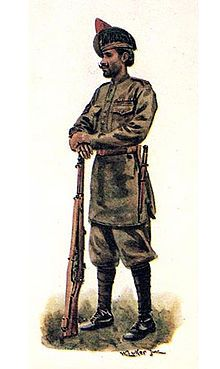 Havildar of 59th Scinde Rifles (Frontier Force). Painting by William Luker Jr, 1918.