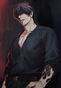Dark Anime Guys, Cool Anime Guys, Hot Anime Boy, Handsome Anime Guys, Anime Art Girl, Manga Art, Yakuza Anime, Poses Manga, Foto Gif