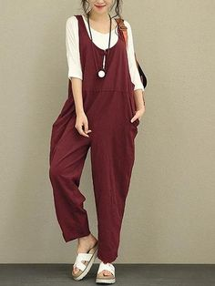 e9d851317ff Vintage Solid Frog Button Loose Women Sleeveless Jumpsuits Cotton Jumpsuit