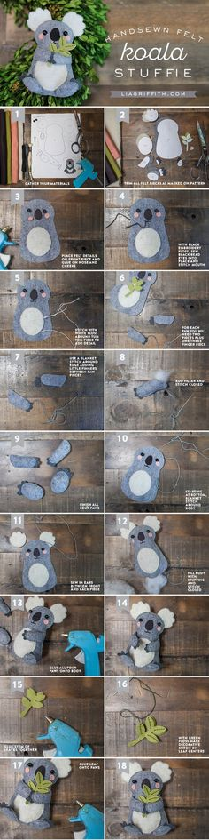 Koala Stuffie Tutorial from Michaels Makers Lia Griffith - I don't care how old I am.I need a koala stuffie Cute Crafts, Felt Crafts, Bible Crafts, Felt Christmas, Christmas Crafts, Do It Yourself Baby, Baby Mobile, Felt Diy, Sewing Projects For Beginners