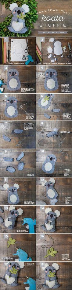 DIY Felt Koala Stuffie:
