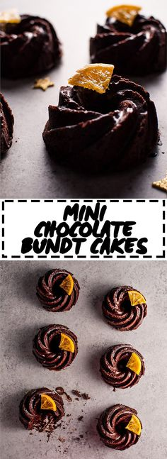 These mini chocolate bundt cakes with candied orange slices are packed full of chocolatey goodness and topped off with a festive touch.
