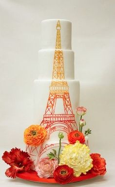 MOSTBEAUTIFUL SPRING CAKES   Eiffel Tower Painted Tiered Cake by Lulu Custom Cake Boutique, NY