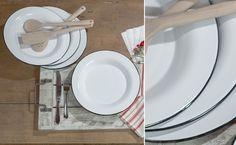 White Enamel Dinner Plate Set