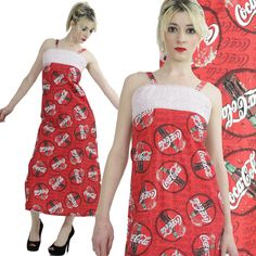 Vintage maxi dress 60s Coca Cola print fabric by SHABBYBABEVINTAGE, $125.00
