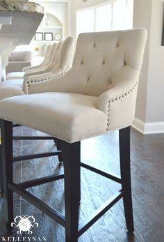 World Market Linen Lydia Bar Stool Tufted with Nailhead Trim