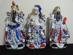 Vintage Chinese Lot 3 Wise Men Fu Lu Shou by ArtsCollectiblesbyKT, $475.00