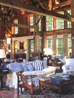 From Chris Madden's Book-Barn Living Room. Cote de texas blog