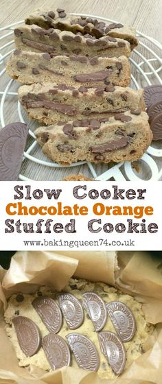 Slow cooker chocolate orange stuffed cookie - bake this delicious treat right in your crockpot!