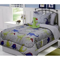 Fancy Linen Collection 6 pc Twin size DINOSAUR Grey blue Yellow Kids /Teens Comforter set With Furry Buddy Included - Walmart.com