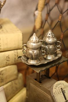 silver salt and pepper shakers.