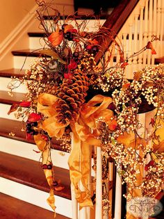Decorate a banister. I should. I used to go full out decor and I don't anymore. But I will again. why the heck not?
