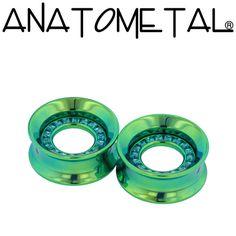 "3/4"" Orbit Eyelets in titanium, anodized green; mint green princess-cut gems"