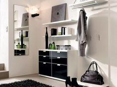 Furniture, luxury modern hallway furniture design with white interior color decorating ideas black furniture plus Modern Hallway Furniture, Hall Furniture, Black Furniture, Furniture Design, Ikea Sofas, Small Hallways, Hallway Storage, Modern Wardrobe, Ideas