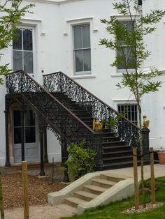 Wrought iron external staircase