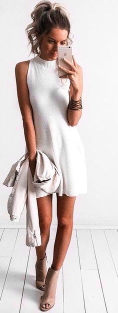 #summer #kirstyfleming #outfits   Ribbed Little White Dress