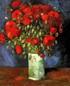 """Vase with Red Poppies, 1886. Oil on canvas, 56.0 x 46.5 cm. Wadsworth Atheneum Museum of Art, Hartford, CT. """"You will see that by making a habit of looking at Japanese pictures you will come to love to make up bouquets and do things with flowers all the more."""" - Vincent van Gogh"""