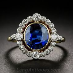 1.91 Carat Natural, No-Heat Sapphire and Diamond Ring