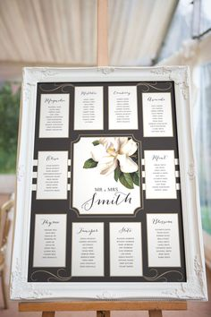Magnolia Blush Wedding Seating chart, Black White and Pink, Various Sizes, Printable PDF Digital template