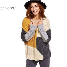COLROVIE Cute Sweater European Womens Sweaters Womens Winter Tops Korean Women Sweater Color Block Mixed Knit Pullover Sweater