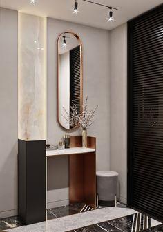 Визуализация прихожей on Behance Modern Interior Design, Luxury Interior, Interior Styling, Interior Architecture, Home Entrance Decor, Entrance Design, Small Dressing Rooms, Bedroom Door Design, Small Hallways