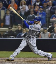 Kansas City Royals first baseman Eric Hosmer hits an RBI double in the ninth inning during game five of the World Series on Sunday, November 1, 2015 at Citi Field in New York.