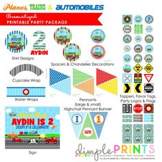 Planes,Trains and Automobiles Party Printables Package--much more than shown.  {Dimple Prints}