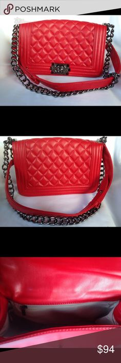 Red Quilted LeBoy Fashion Crossbody Bag Beautiful red quilted faux leather LeBoy crossbody fashion bag.  Gunmetal *C*C* logo turnlock and silvertone chain strap.  In Like New condition.  Medium size. Bags Crossbody Bags