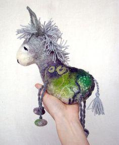 Grey Birger  Felt Donkey Art Toy Felted Stuffed by TwoSadDonkeys, $84.00