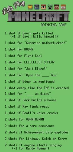LP Minecraft Drinking Game. I wouldn't do shots or else I'd be dead within the first 5 minutes.