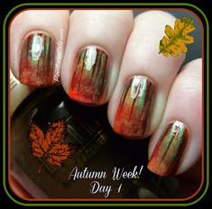 Sponging & stripes... fall nail art #nailart Autumn Waterfall. See article for details of what polishes were  used and how this great look was accomplished.