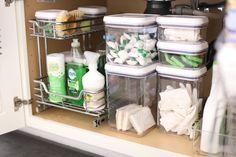 Under Kitchen Sinks, Under Kitchen Sink Organization, Kitchen Pantry, New Kitchen, Kitchen Storage, Kitchen Cabinets, Kitchen Ideas, Kitchen Hacks, Kitchen Sink Decor