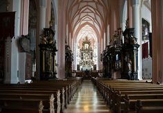 "Mondsee Cathedral (Austria) - this is the inside of the cathedral used in making the movie ""Sound of Music"" where Julie Andrews walked down the LONG aisle.  It was the longest aisle in any Austrian church that the movie people could find."