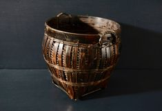 $32 for sale 2020 Dark Bamboo Basket with Small Handles   Etsy