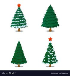 Set of tree xmas isolated icon cartoon style for vector image on VectorStock Christmas Tree Farm, Xmas, Christmas Ornaments, Cartoon Styles, Adobe Illustrator, Vector Free, Holiday Decor, Illustration, Brother
