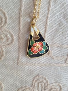 Cloisonne pendant necklace, vintage black cloisonne necklace, black cloisonné necklace, cloisonné pendants, vintage cloisonné jewelry, N118 by DuckCedar on Etsy