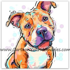I LOVE THIS!! <3 Pit Bull art print by CartoonYourMemories on Etsy