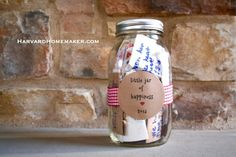 Little Jar of Happiness.  This year fill a jar with memories of special moments, big and small, and pull them out on New Year's Eve next year.  What a great way to focus on the good in your life and say good-bye to the blessing of another year! #traditions #HarvardHomemaker
