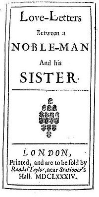 Aphra Behn, Love-Letters Between a Noble-Man and his Sister, title page of the first edition (1684) - the first of three volumes