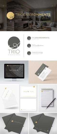Branding for TRIO Environments. Professional interior design, merchandising and educational services led by Angela Harris.